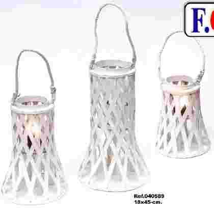 Farol decor blanco cuerda c/vidrio