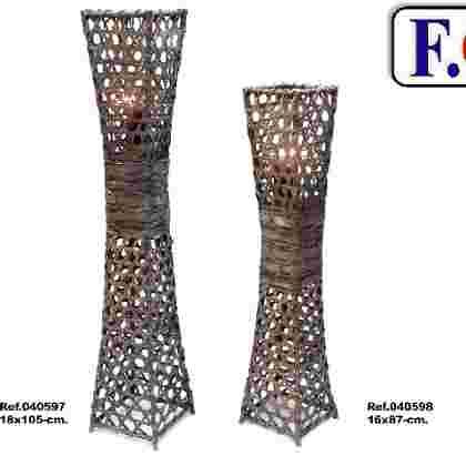 Farol-lampara decor gris c/vidrio