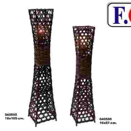 Farol-lampara decor nogal c/vidrio